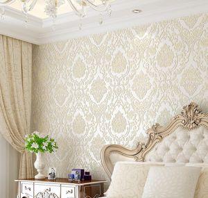 Modern Damask Wallpaper Wall Paper Embossed Textured 3d Wall Covering For Bedroom Livi qylkaF dayupshop