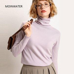 MOINWATER las mujeres a estrenar suéter blanco Señora de punto delgado del cuello alto del suéter femenino de moda Negro Base Jerseys Tops MS1901 201017