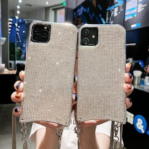 Diamond sparkle iphone 12 case Luxury chain crossbody Cell Phone Case Neck Strap Rope lanyard For iPhone 11 pro MAX 7 8 Plus XR XS MAX Cord