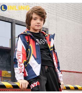 Linling Moda İlkbahar Sonbahar Ceket Erkek Çocuk Ceket Kapşonlu Rüzgarlık Çocuk Giyim Giyim Giyim P302 201022