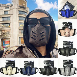 Maschere US STOCK unisex Viso Covers maschera di pelle PU Uomini antipolvere delle donne del fronte del progettista della mascherina di modo Mouth-muffola lavabile Outdoor Sports Party