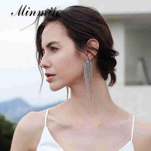 Minmin Rosegold Sparkling Rhinestone Long Tassel Wedding Drop Earrings Luxury Large Bridal Dangle Earrings Party Jewelry MEH1647
