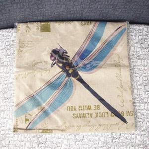 American Country Color Dragonfly Pintura al óleo Ilustraciones Funda de almohada Hacer viejo Vintage Funda de almohada Flax Fibra Blend Sofa HWC3401
