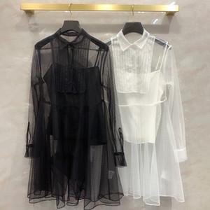Pinlei silk screen polka dot dress long sleeve sling lining transparent pleated two piece shirt skirt