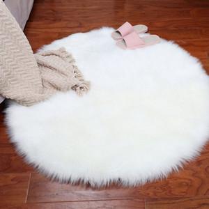 Round Carpet Faux Wool Living Room Bedroom Carpet Livingroom Long Plush Blanket Sofa Cushion Bay Window Pad Comfortable Fur Rug ZlQj#