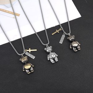 European and American Hip-hop Necklace Cute Cartoon Robot Little Panda Pendant Stainless Steel Chain