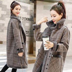 Kadın Kürk Faux Jane Deiune Kış Kadın Ekose Yastıklı Ceket Kuzu Yün Dış Giyim Kalınlaşmak Uzun Stil Moda Chic Kore Casaco