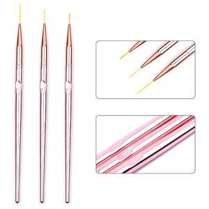 3pcs set Rose Gold Nail Art Line Painting Brushes Metal Handle Thin Liner Drawing Pen DIY UV Gel Tips Design Manicure Tool Kits