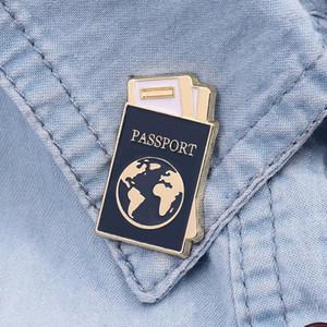 Cartoon Global Map Passport Enamel Lapel Pins Brooches Cute Map Passport Badge Pins Clothes Backpack Brooch Jewelry Gifts