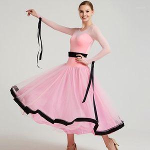 Mujeres Pink Modern Dance Disfraces Bow Tie Ballroom Danza Vestido Vestido Big Swing Waltz Dancing Dress1