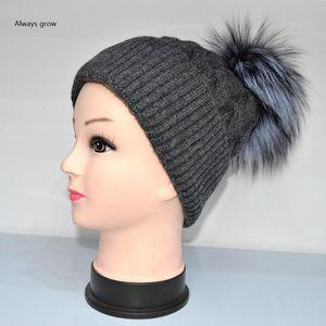 Шапочки / черепные колпачки зимние женские шляпа с 100% изготовленной шерстью и меховым мячом имеют один размер надувной, комфортабельный, чем теплый