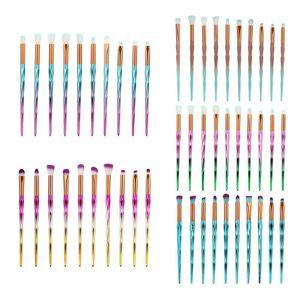 10pcs 3D Rainbow Diamond Makeup Brushes Set Eyebrow Eyeshadow Brush Facial Foundation Cosmetic Makeup Brush Kit