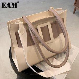 [EAM] Frauen Neue Kontrastfarben Große Einkaufstasche PU-Lederklappe Persönlichkeit All Match Crossbody Umhängetasche Mode 2021 18A1292