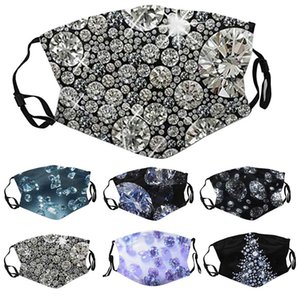 2021 fashion mask face mask diamond print mask can be inserted filter type dustproof breathable colorful ice silk cloth can be washed