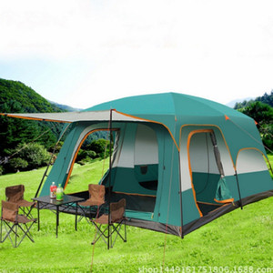 Outdoor Camping Tents 6-12 Person Double Tents Layer Double Waterproof Windproof Large Tent Family Hiking Fishing