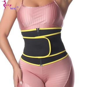 SEXYWG Slimming Waist Trainer Zipper Corset Women Neoprene Sauna Trimmer Cinchers Strap Sweat Body Shaper Back Support Belt Band