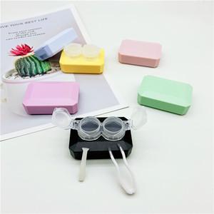 Candy-цветной контактный объектив Clamshell Square Box Circle Companion Box, простая двойная коробка Держатель для глаз с зеркалом