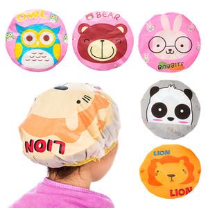 Ducha animal de la historieta del bebé del casquillo del pelo de los niños del casquillo del capo reutilizable de PVC Sauna pelo Productos de baño de ducha impermeable Cap para las mujeres de DHL