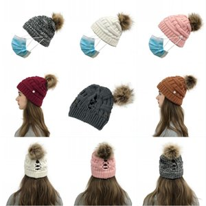 DHL Shipping Cable Knit Beanie Cap with Buttons Women Thick Warm Soft Hats for Cold Weather Side Button Cariss Cross Caps Kimter-X768FZ