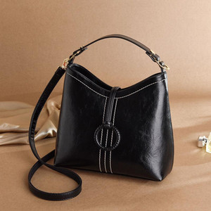 DE bolso de las mujeres 2020 nuevo estilo de moda de aceite de cera de cuero del bolso del hombro del bolso de señora Bucket