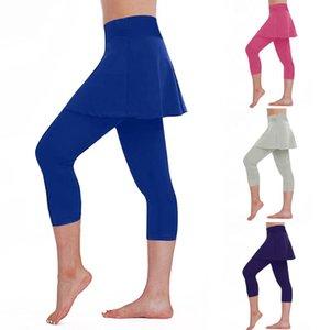 Yoga pants Leggings For Women Fashion Casual Mid Waist Skirt Ladies Leggings Tennis Pants Sports Fitness Cropped Culottes#g4