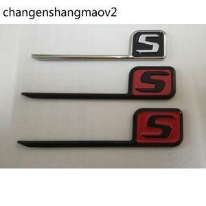 Chrome Black Red Letters S Lid Couvercle Badges Emblems Badge Emblem pour Mercedes Benz C63S E63S CLS63S S63S GLC63S GLC63S AMG
