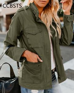 Veste de printemps Femme Zip Up Vêtements d'extérieur Vêtements Femelle Streetwear Automne Manteau Collier Collier Collier Collier Green Military Vestes J0112