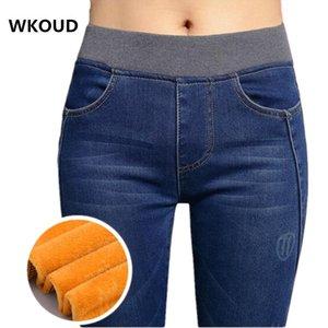 Kadınlar Stretch Skinny Sıcak Denim Pantolon Kalınlaşmak Sıcak Yüksek Bel Kalem Pantolon Kış Jeans Bayan Güz Jean Pantolon P8035 201007