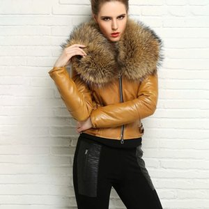 FURSARCAR NEW 정품 가죽 자켓 여성 겨울 자연 진짜 너구리 모피 칼라 코트 패션 럭셔리 짧은 모피 재킷 201,015을