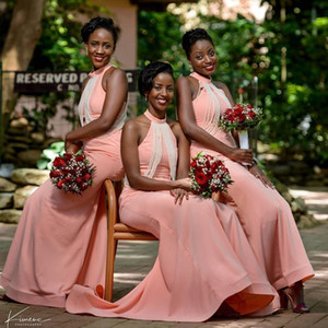 2021 African Blush Pink New Pearls Bridesmaid Dresses Mermaid Halter Floor Length Plus Size Wedding Guest Dress Country Maid of Honor Gowns