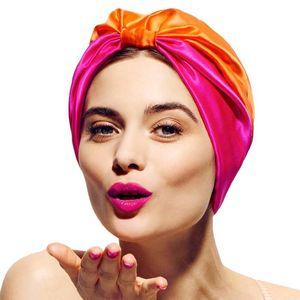 Beanie / Kafatası Kapaklar 12 Renkler Saten Bonnet Salon Gece Saç Şapka Doğal Kıvırcık Çift Elastik Banyo Uyku Kadın Kafa Kapak Wrap