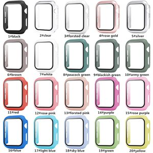 apple watch PC Hard Case With Tempered Glass Film for Full Screen Protector iwatch 38mm 42 mm 40mm 44mm