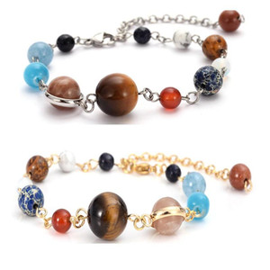 Newest Solar System Design Nine Planets Beaded Bracelets Stainless Steel Chain Linked