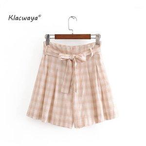 KlaCwaya Ekose Şort Gömlek 2021 Yaz Moda Bayanlar Sashes Draped Gevşek Şortlar Etek Chic Girls England Style1