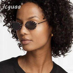 Sonnenbrille Kristall Runde Frauen 2021 Desinger Gradient Farbe Rot Rosa Blakck Flache Top Sonnenbrille UV400 Shades1