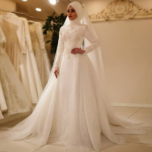 2020 Muslim Wedding Dresses with Hijab Plus Size Lace Beaded Bridal Gowns Customise Elegant Dubai vestido de novia