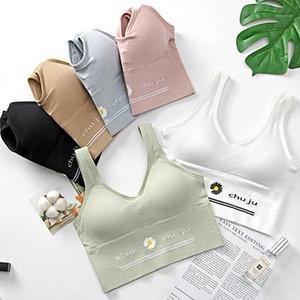 Women Push Up Bra Top Little Daisy Sexy Deep U Back Anti-glare Wapped Pad Shockproof Sports Vest Tops Backless Underwear #F1