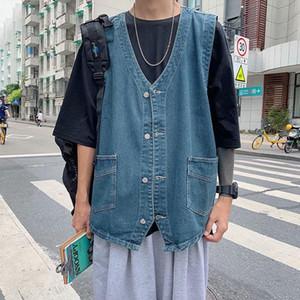 Autumn Streetwear Men's Collarless Waistcoat Button-Down Denim Vest Sleeveless Jean Jackets Plus Size 3XL Men Clothing XXXL