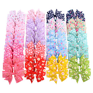 20pcs lot Printed Flower Bows With For Baby Girls Grosgrain Ribbon Boutique Clip Barrettes Hair Accessories 039