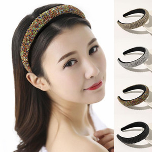 Luxury Thick Sponge Full Rhinestone Women Headband Rhinestone Padded Wide Head Hoop Crystal Hairband Party Hair Accessories New Q bbyEfC