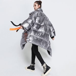 Winter women's down jacket long-sleeved patchwork ribbon casual fashion irregular cotton coat women's autumn 2020 bold warmth
