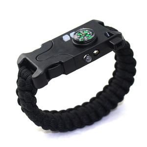 AK20 Laser Infrared SOS Survival Bracelet Rechargeable Le Flashlight Compass Umbrella Rope for Help