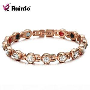 Rainso Magnetic Crystal Bracelets & Bangles Rhinestone Jewelry Women Accessories Healthy Bio Energy Hologram Germanium Bracelets Y19051002