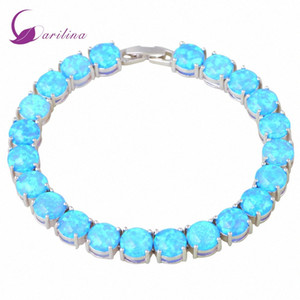 Glam Luxe Таинственные Silver Blue Fire Opal Браслеты браслеты для подростков Девушки Pulseiras Femininas 19.5cm 7,67 дюйма B467 aOnw #