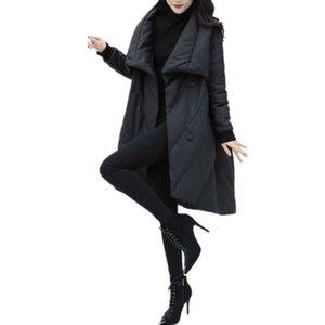 DMLFZMY elegante de la manera de la chaqueta de las mujeres parka de invierno Mujeres Parkas algodón acolchado chaqueta caliente femenina largo ropa de abrigo Tops 201015