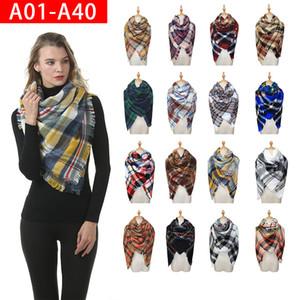Scarves xadrez meninas xale 140 * 140 cm grade envolve treliça quadrado garganta cachecol franjado inverno vestiários xd24120