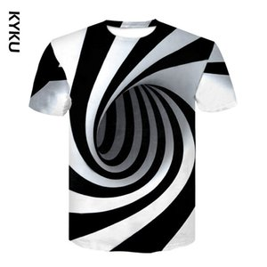 Black And White Vertigo Hypnotic 3D Print Men T shirt Funny tshirt Optical Illusion Black-White Graphic O-Neck