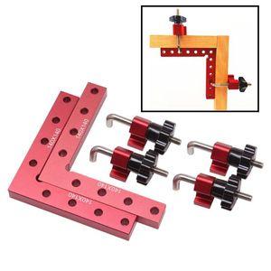 Madera carpintería ajustable Pinza de sujeción Ruler Aluminio Abrazadera de ángulo recto L-formado Auxiliar Posicionador de accesorios Picando G de la abrazadera