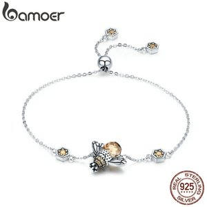 BAMOER GENUINO 100% 925 Sterling Silver Dancing Honey Bee Catena Collegamento Braccialetto Braccialetto Crystal Big Stone Bracciale Gioielli SCB043 CX200612
