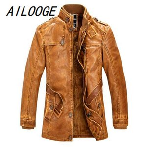 AILOOGE 2020 Collar New Standing alta qualidade Mens Casaco de couro Washed Leather Motorcycle Jackets Biker